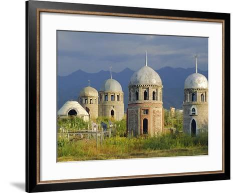 Traditional Kirghiz Cemetary, Near Burana Tower, Kyrgyzstan, Central Asia-Upperhall Ltd-Framed Art Print