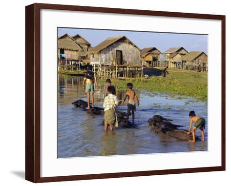 Children Riding Water Buffaloes, Inle Lake, Myanmar, Asia-Upperhall Ltd-Framed Art Print