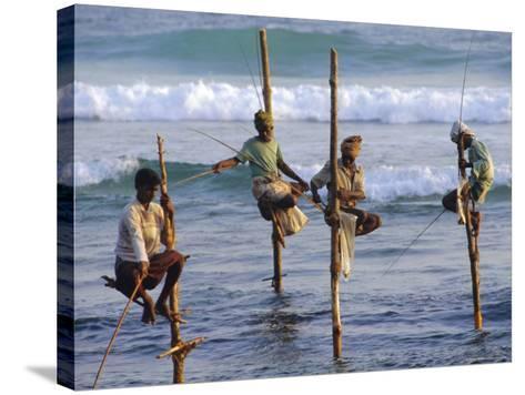 Stilt Fishermen, Weligama, Sri Lanka, Asia-Upperhall Ltd-Stretched Canvas Print