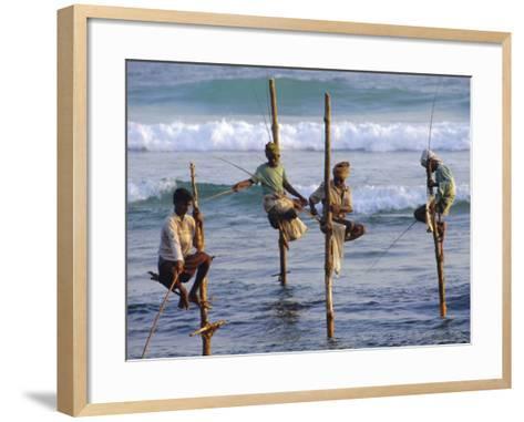 Stilt Fishermen, Weligama, Sri Lanka, Asia-Upperhall Ltd-Framed Art Print
