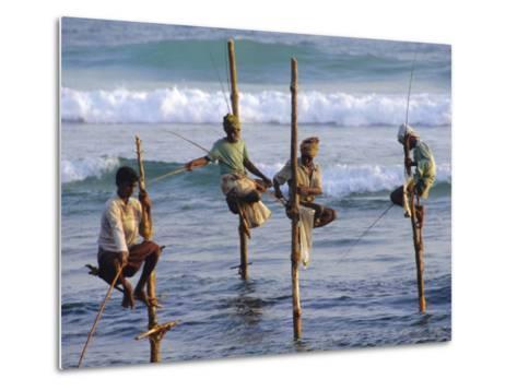 Stilt Fishermen, Weligama, Sri Lanka, Asia-Upperhall Ltd-Metal Print