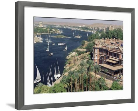 Feluccas on the River Nile and the Old Cataract Hotel, Aswan, Egypt, North Africa, Africa-Upperhall Ltd-Framed Art Print