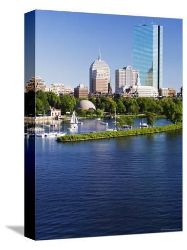 The John Hancock Tower and City Skyline Across the Charles River, Boston, Massachusetts, USA-Amanda Hall-Stretched Canvas Print