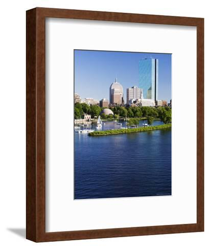 The John Hancock Tower and City Skyline Across the Charles River, Boston, Massachusetts, USA-Amanda Hall-Framed Art Print
