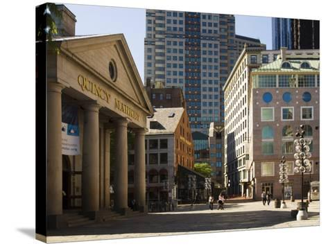 Quincy Market by Faneuil Hall, Boston, Massachusetts, USA-Amanda Hall-Stretched Canvas Print