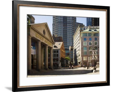 Quincy Market by Faneuil Hall, Boston, Massachusetts, USA-Amanda Hall-Framed Art Print