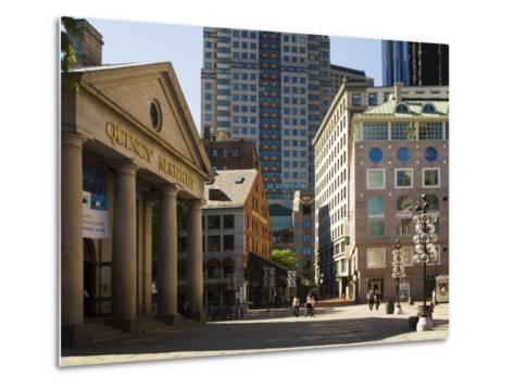 Quincy Market by Faneuil Hall, Boston, Massachusetts, USA-Amanda Hall-Metal Print