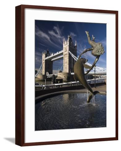 Tower Bridge and the Girl with a Dolphin Sculpture, London, England-Amanda Hall-Framed Art Print