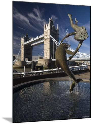Tower Bridge and the Girl with a Dolphin Sculpture, London, England-Amanda Hall-Mounted Photographic Print