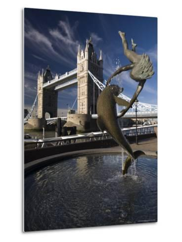 Tower Bridge and the Girl with a Dolphin Sculpture, London, England-Amanda Hall-Metal Print