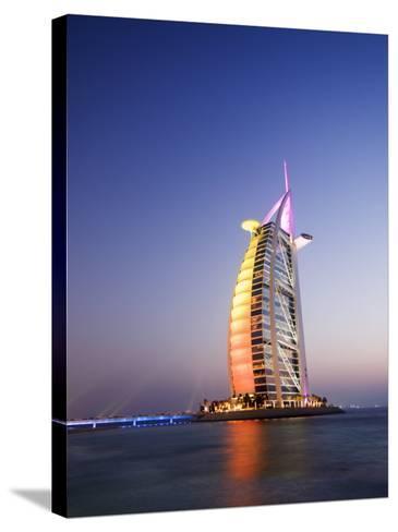 Sunset, Burj Al Arab Hotel, Dubai, United Arab Emirates, Middle East-Amanda Hall-Stretched Canvas Print