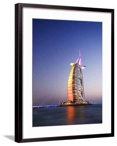Sunset, Burj Al Arab Hotel, Dubai, United Arab Emirates, Middle East-Amanda Hall-Framed Art Print