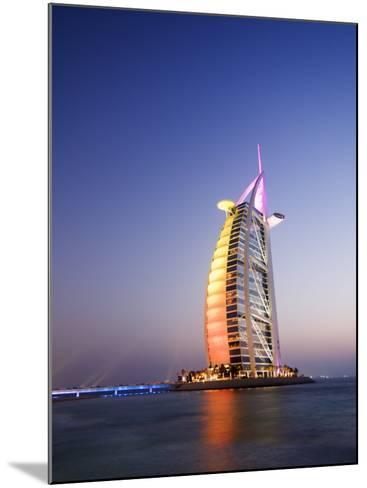 Sunset, Burj Al Arab Hotel, Dubai, United Arab Emirates, Middle East-Amanda Hall-Mounted Photographic Print