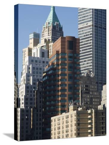 Tall Buildings in the Financial District of Lower Manhattan, New York City, New York, USA-Amanda Hall-Stretched Canvas Print