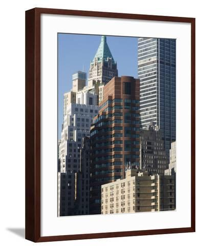 Tall Buildings in the Financial District of Lower Manhattan, New York City, New York, USA-Amanda Hall-Framed Art Print