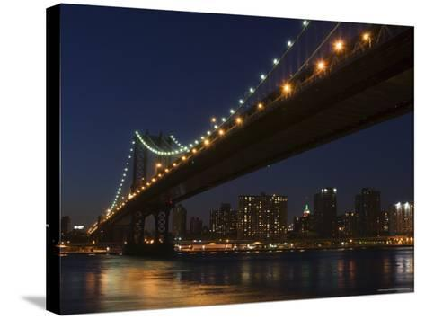 Manhattan Bridge at Dusk, New York City, New York, United States of America, North America-Amanda Hall-Stretched Canvas Print