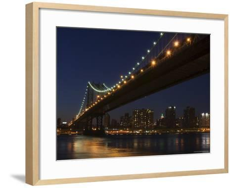 Manhattan Bridge at Dusk, New York City, New York, United States of America, North America-Amanda Hall-Framed Art Print