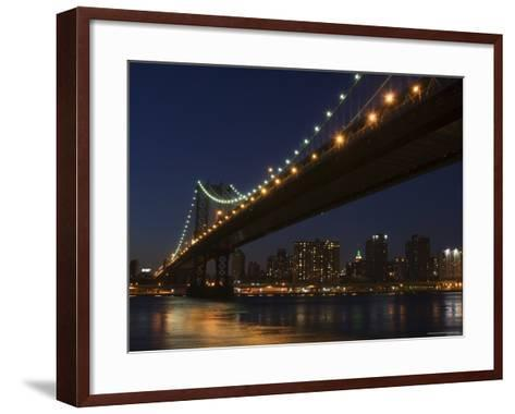 Manhattan Bridge at Dusk, New York City, New York, United States of America, North America-Amanda Hall-Framed Art Print