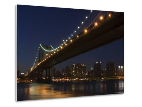 Manhattan Bridge at Dusk, New York City, New York, United States of America, North America-Amanda Hall-Metal Print
