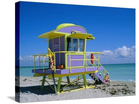 Lifeguard Station, South Beach, Miami Beach, Florida, USA-Amanda Hall-Stretched Canvas Print