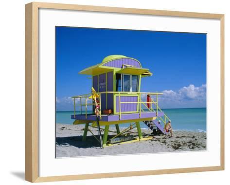 Lifeguard Station, South Beach, Miami Beach, Florida, USA-Amanda Hall-Framed Art Print
