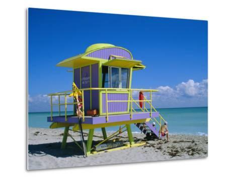 Lifeguard Station, South Beach, Miami Beach, Florida, USA-Amanda Hall-Metal Print