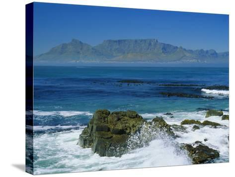 Table Mountain Viewed from Robben Island, Cape Town, South Africa-Amanda Hall-Stretched Canvas Print