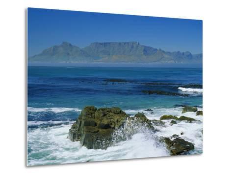 Table Mountain Viewed from Robben Island, Cape Town, South Africa-Amanda Hall-Metal Print