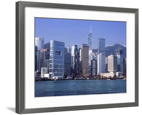 Hong Kong Island Skyline from Victoria Harbour, Hong Kong, China, Asia-Amanda Hall-Framed Art Print