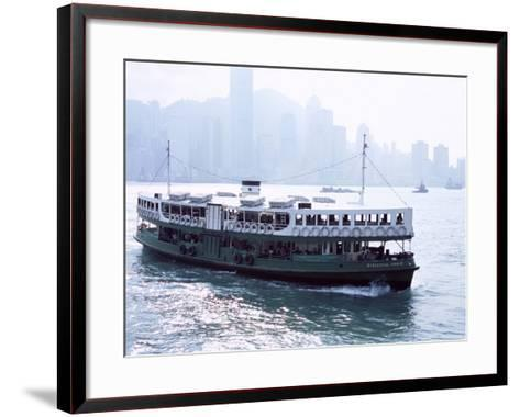 Star Ferry, Victoria Harbour, with Hong Kong Island Skyline in Mist Beyond, Hong Kong, China, Asia-Amanda Hall-Framed Art Print