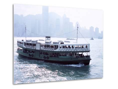 Star Ferry, Victoria Harbour, with Hong Kong Island Skyline in Mist Beyond, Hong Kong, China, Asia-Amanda Hall-Metal Print