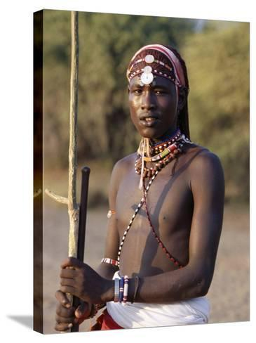 Young Masai Morani or Warrior with Henna-Ed Hair and Beadwork, Laikipia, Kenya, East Africa, Africa-Louise Murray-Stretched Canvas Print