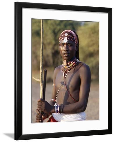 Young Masai Morani or Warrior with Henna-Ed Hair and Beadwork, Laikipia, Kenya, East Africa, Africa-Louise Murray-Framed Art Print