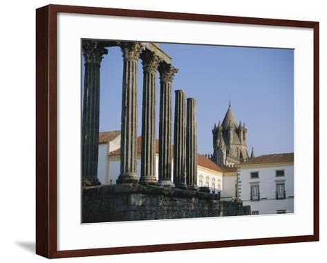 Roman Temple and Cathedral, Evora, Alentejo, Portugal, Europe-Firecrest Pictures-Framed Art Print