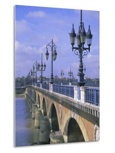 Pont De Pierre, Bordeaux, Gironde, France, Europe-Firecrest Pictures-Metal Print