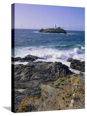 Lighthouse, Godrevy Point, St. Ives Bay, Cornwall, England, UK-Roy Rainford-Stretched Canvas Print