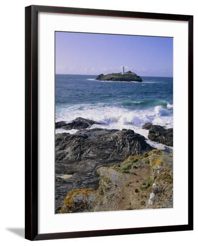 Lighthouse, Godrevy Point, St. Ives Bay, Cornwall, England, UK-Roy Rainford-Framed Art Print
