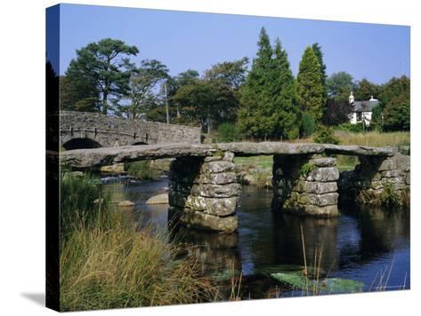 Clapper Bridge, Postbridge, Dartmoor, Devon, England, UK-Roy Rainford-Stretched Canvas Print