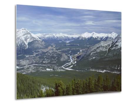 View from Sulphur Mountain, Banff, Rocky Mountains, Alberta, Canada, North America-Rob Cousins-Metal Print