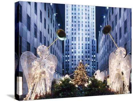 Angels at the Rockerfeller Centre, Decorated for Christmas, New York City, USA-Nigel Francis-Stretched Canvas Print