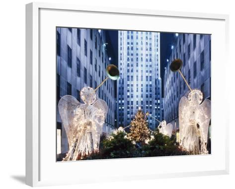 Angels at the Rockerfeller Centre, Decorated for Christmas, New York City, USA-Nigel Francis-Framed Art Print