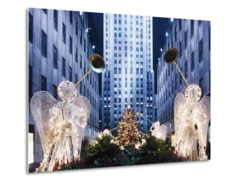 Angels at the Rockerfeller Centre, Decorated for Christmas, New York City, USA-Nigel Francis-Metal Print