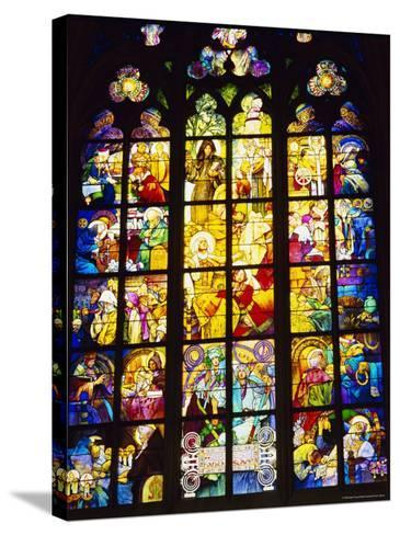 Stained Glass Windows, St. Vitus Cathedral, Prague, Czech Republic, Europe-Nigel Francis-Stretched Canvas Print