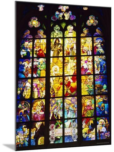 Stained Glass Windows, St. Vitus Cathedral, Prague, Czech Republic, Europe-Nigel Francis-Mounted Photographic Print