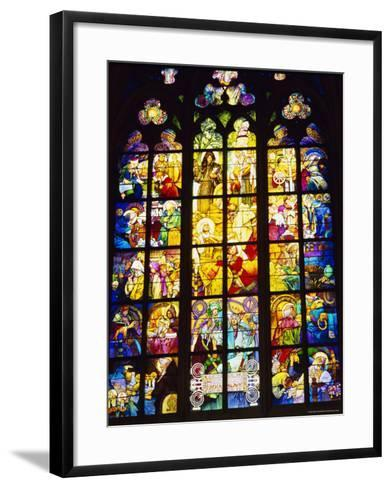 Stained Glass Windows, St. Vitus Cathedral, Prague, Czech Republic, Europe-Nigel Francis-Framed Art Print