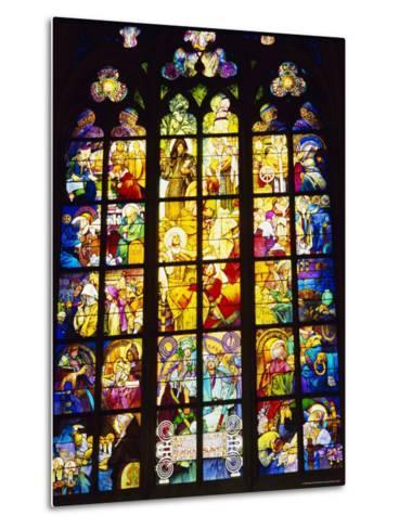 Stained Glass Windows, St. Vitus Cathedral, Prague, Czech Republic, Europe-Nigel Francis-Metal Print