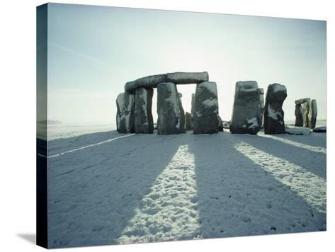 Stonehenge, Unesco World Heritage Site, in Winter Snow, Wiltshire, England, United Kingdom, Europe-Adam Woolfitt-Stretched Canvas Print