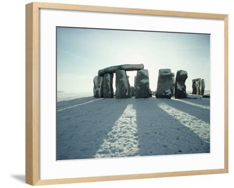 Stonehenge, Unesco World Heritage Site, in Winter Snow, Wiltshire, England, United Kingdom, Europe-Adam Woolfitt-Framed Art Print