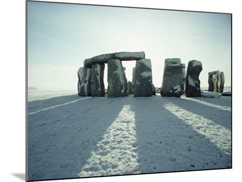 Stonehenge, Unesco World Heritage Site, in Winter Snow, Wiltshire, England, United Kingdom, Europe-Adam Woolfitt-Mounted Photographic Print