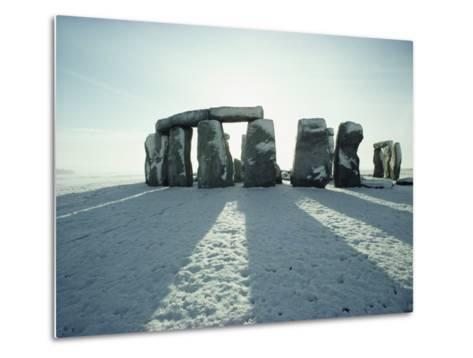 Stonehenge, Unesco World Heritage Site, in Winter Snow, Wiltshire, England, United Kingdom, Europe-Adam Woolfitt-Metal Print